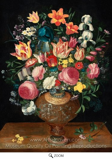 Frans Francken, A Still Life of Flowers in a Sculpted Vase oil painting reproduction