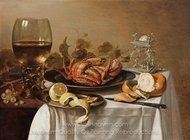 A Still Life with a Roemer, a Crab and a Peeled Lemon painting reproduction, Pieter Claesz