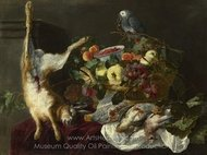 A Still Life with Fruit, Dead Game and a Parrot painting reproduction, Jan Fyt