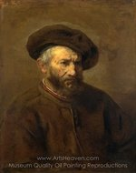 A Study of an Elderly Man in a Cap painting reproduction, Rembrandt Van Rijn