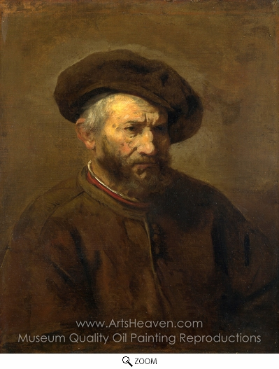 Rembrandt Van Rijn, A Study of an Elderly Man in a Cap oil painting reproduction
