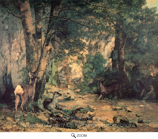 Gustave Courbet, A Thicket of Deer at the Stream of Plaisir Fountaine oil painting reproduction