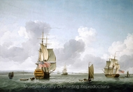A Two-Decker and a Frigate Running into the Thames off Gravesend painting reproduction, Charles Brooking