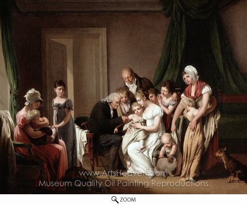Louis Leopold Boilly, A Vaccinator Vaccinating a Young Child Held by its Mother oil painting reproduction