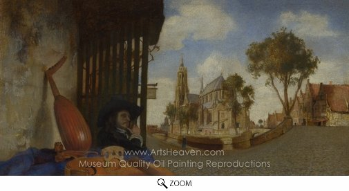 Carel Fabritius, A View of Delft, with a Musical Instrument Seller's Stall oil painting reproduction