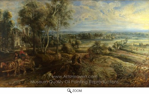 Peter Paul Rubens, A View of Het Steen in the Early Morning oil painting reproduction