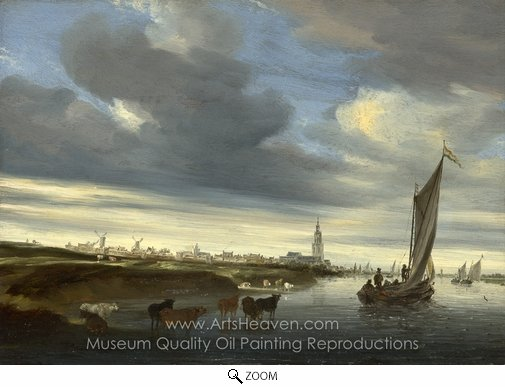 Salomon Van Ruysdael, A View of Rhenen Seen from the West oil painting reproduction