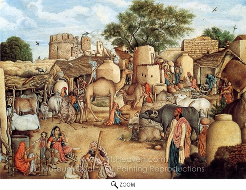 Gulam Ali Khan, A Village Scene in the Punjab oil painting reproduction