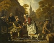 A Village Scene with a Cobbler painting reproduction, Jan Victors