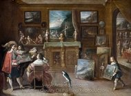 A Visit to the Art Dealer painting reproduction, Frans Francken