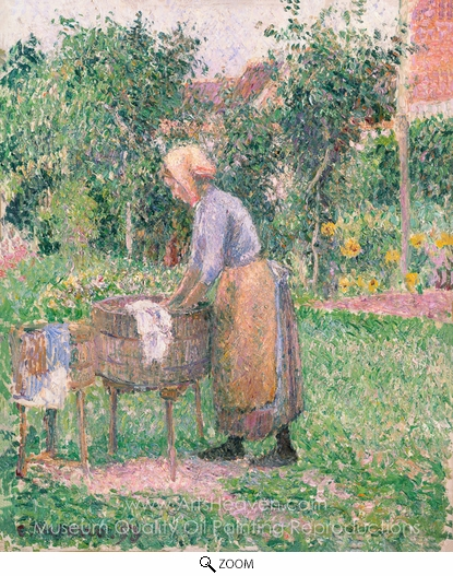 Camille Pissarro, A Washerwoman at Eragny oil painting reproduction