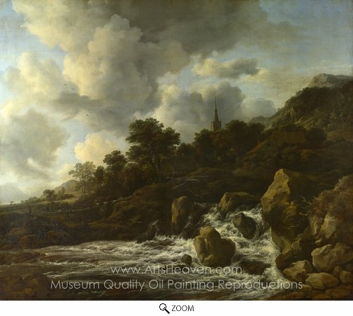 Jacob Van Ruisdael, A Waterfall at the Foot of a Hill Near a Village oil painting reproduction