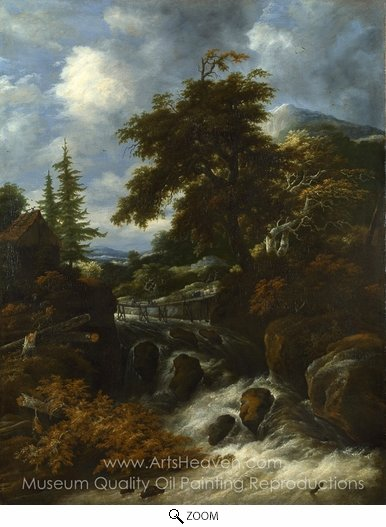 Salomon Van Ruysdael, A Waterfall by a Cottage in a Hilly Landscape oil painting reproduction