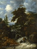 A Waterfall by a Cottage in a Hilly Landscape painting reproduction, Salomon Van Ruysdael