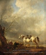 A White Horse, and an Old Man Binding Faggots painting reproduction, Philips Wouwerman