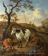 A White Horse Standing by a Sleeping Man painting reproduction, Pieter Verbeeck