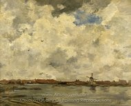 A Windmill and Houses Beside Water, Stormy Sky painting reproduction, Jacob Maris