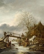 A Winter Scene painting reproduction, Isaac Van Ostade