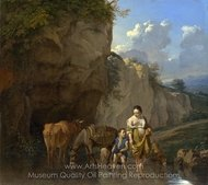 A Woman and a Boy with Animals at a Ford painting reproduction, Karel Dujardin