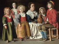 A Woman and Five Children painting reproduction, Louis Le Nain