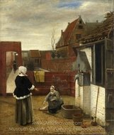 A Woman and Her Maid in a Courtyard painting reproduction, Pieter De Hooch