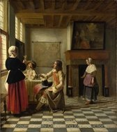 A Woman Drinking with Two Men painting reproduction, Pieter De Hooch