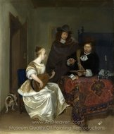 A Woman Playing a Theorbo to Two Men painting reproduction, Gerard Ter Borch