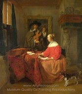 A Woman Seated at a Table and a Man Tuning a Violin painting reproduction, Gabriel Metsu