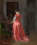 A Woman Standing at a Harpsichord, a Man Seated by Her painting reproduction, Jacob Ochtervelt