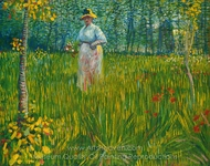 A Woman Walking in a Garden painting reproduction, Vincent Van Gogh