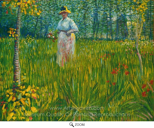 Vincent Van Gogh, A Woman Walking in a Garden oil painting reproduction