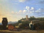 A Woman with Cattle and Sheep in an Italian Landscape painting reproduction, Karel Dujardin