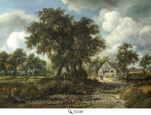 Meindert Hobbema, A Woody Landscape oil painting reproduction