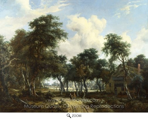 Meindert Hobbema, A Woody Landscape with a Cottage oil painting reproduction