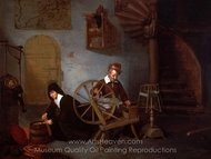 A Wool Spinner and His Wife painting reproduction, Quirijn Van Brekelenkam