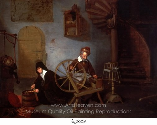 Quirijn Van Brekelenkam, A Wool Spinner and His Wife oil painting reproduction