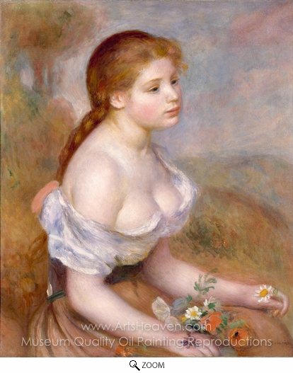Pierre-Auguste Renoir, A Young Girl with Daisies oil painting reproduction