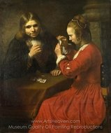 A Young Man and a Girl Playing Cards painting reproduction, Rembrandt Van Rijn