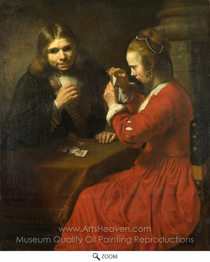 Rembrandt Van Rijn, A Young Man and a Girl Playing Cards oil painting reproduction