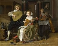 A Young Man and Woman Making Music painting reproduction, Jan Molenaer