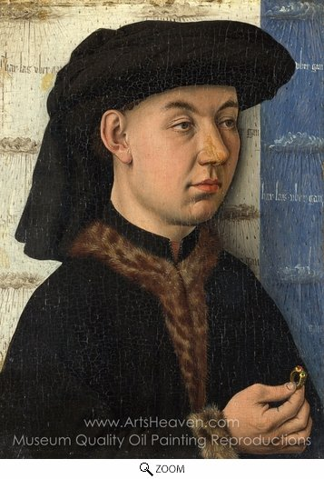 Jan Van Eyck, A Young Man Holding a Ring oil painting reproduction