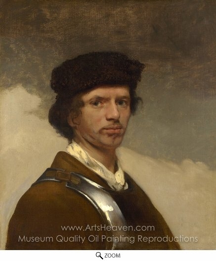 Carel Fabritius, A Young Man in a Fur Cap and a Cuirass oil painting reproduction