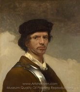 A Young Man in a Fur Cap and a Cuirass painting reproduction, Carel Fabritius