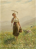 A Young Woman in the Meadow painting reproduction, Hans Dahl