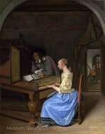 A Young Woman Playing a Harpsichord to a Young Man painting reproduction, Jan Steen