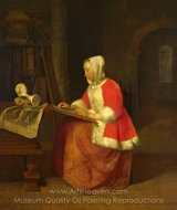 A Young Woman Seated Drawing painting reproduction, Gabriel Metsu