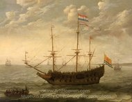 A Zeeland Ship at Anchor painting reproduction, Abraham Willaerts