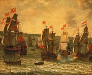 Action Between Ships in the Dutch War painting reproduction, Abraham Willaerts