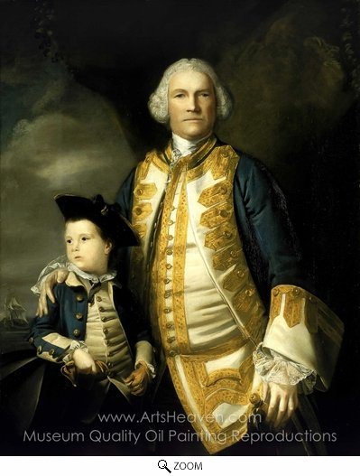 Sir Joshua Reynolds, Admiral Francis Holbourne and His Son, Sir Francis, 4th Baronet oil painting reproduction