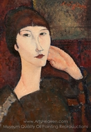 Adrienne (Woman with Bangs) painting reproduction, Amedeo Modigliani